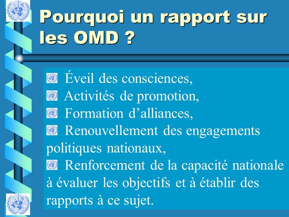 Pourquoi un rapport sur les OMD ? Éveil des consciences, Activités de promotion, Formation dalliances, Renouvellement des engagements politiques natio
