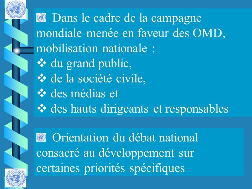 Dans le cadre de la campagne mondiale menée en faveur des OMD, mobilisation nationale : du grand public, de la société civile, des médias et des hauts