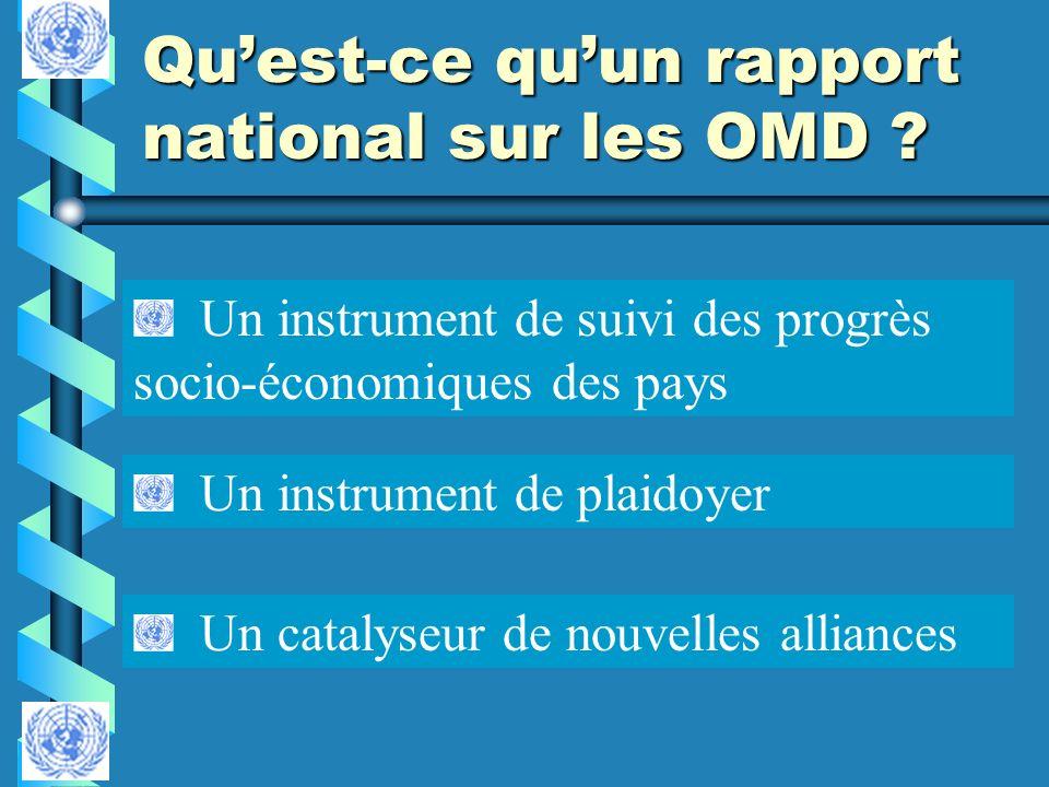 Quest-ce quun rapport national sur les OMD ? Un instrument de plaidoyer Un instrument de suivi des progrès socio-économiques des pays Un catalyseur de