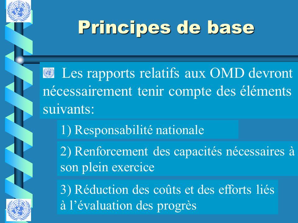 Principes de base Les rapports relatifs aux OMD devront nécessairement tenir compte des éléments suivants: 1) Responsabilité nationale 2) Renforcement