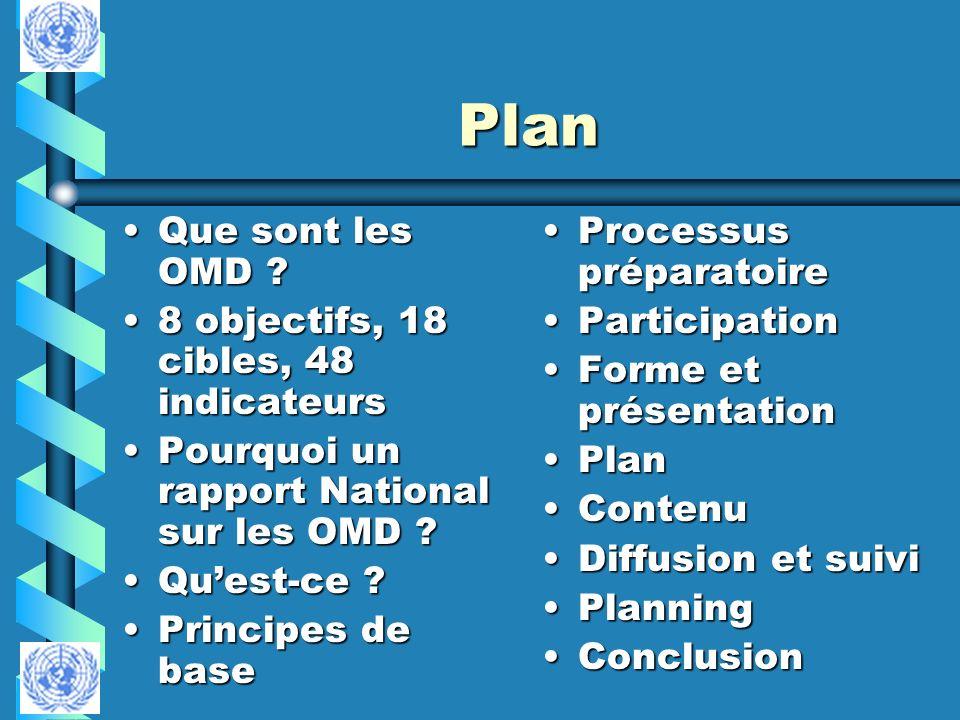 Plan Que sont les OMD ?Que sont les OMD ? 8 objectifs, 18 cibles, 48 indicateurs8 objectifs, 18 cibles, 48 indicateurs Pourquoi un rapport National su