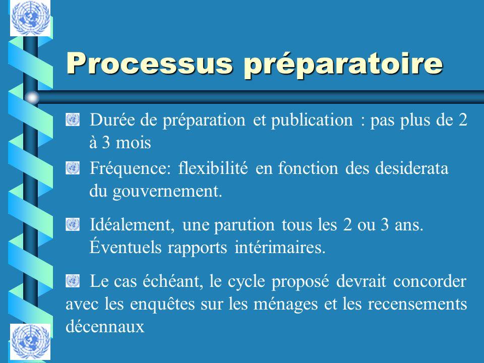 Processus préparatoire Durée de préparation et publication : pas plus de 2 à 3 mois Fréquence: flexibilité en fonction des desiderata du gouvernement.