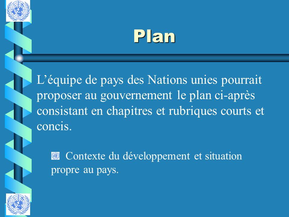 Plan Léquipe de pays des Nations unies pourrait proposer au gouvernement le plan ci-après consistant en chapitres et rubriques courts et concis. Conte