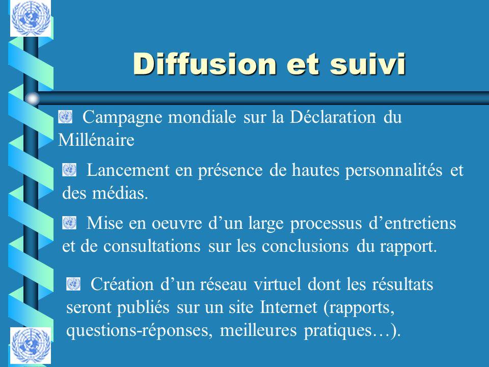 Diffusion et suivi Campagne mondiale sur la Déclaration du Millénaire Lancement en présence de hautes personnalités et des médias. Mise en oeuvre dun