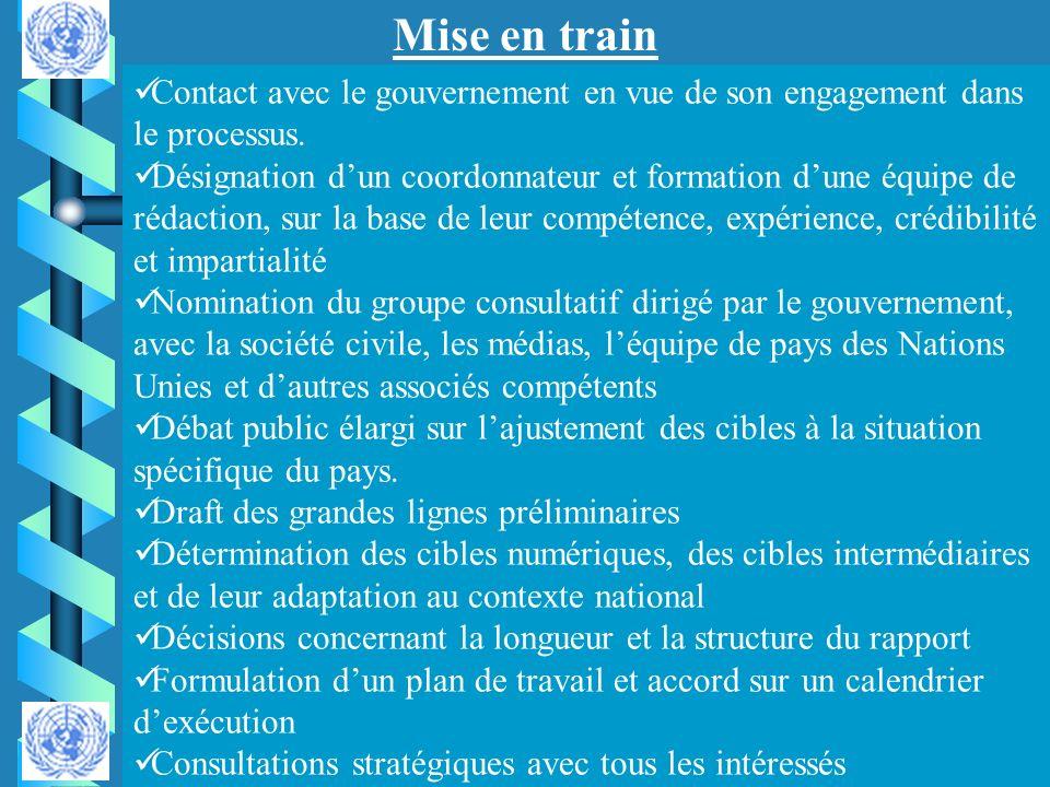 Mise en train Contact avec le gouvernement en vue de son engagement dans le processus. Désignation dun coordonnateur et formation dune équipe de rédac