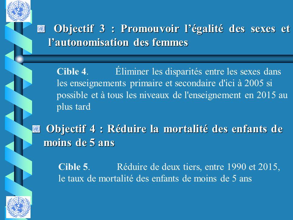 Objectif 3 : Promouvoir légalité des sexes et lautonomisation des femmes Objectif 3 : Promouvoir légalité des sexes et lautonomisation des femmes Obje