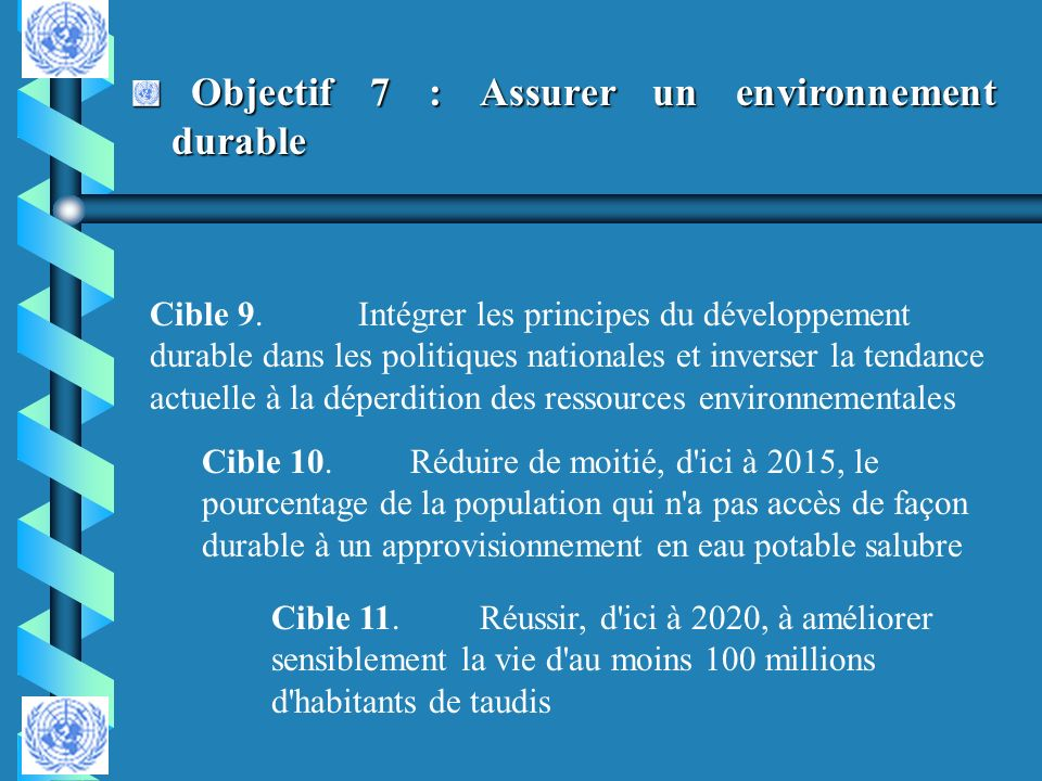 Objectif 8 : Mettre en place un partenariat mondial pour le développement Objectif 8 : Mettre en place un partenariat mondial pour le développement Cible 12.Poursuivre la mise en place d un système commercial et financier multilatéral ouvert, fondé sur des règles, prévisible et non discriminatoire Cible 13.S attaquer aux besoins particuliers des pays les moins avancés Cible 14.Répondre aux besoins particuliers des petits États insulaires en développement Cible 15.Traiter globalement le problème de la dette des pays en développement, par des mesures d ordre national et international propres à rendre leur endettement viable à long terme