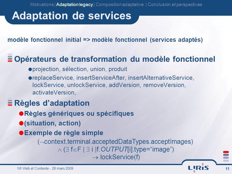 WI Web et Contexte - 26 mars 2009 11 Adaptation de services modèle fonctionnel initial => modèle fonctionnel (services adaptés) Opérateurs de transformation du modèle fonctionnel projection, sélection, union, produit replaceService, insertServiceAfter, insertAlternativeService, lockService, unlockService, addVersion, removeVersion, activateVersion, Règles dadaptation Règles génériques ou spécifiques (situation, action) Exemple de règle simple ( context.terminal.acceptedDataTypes.acceptImages) ( f F | i |f.OUTPUT[i].type=image) lockService(f) Motivations | Adaptation legacy | Composition adaptative | Conclusion et perspectives