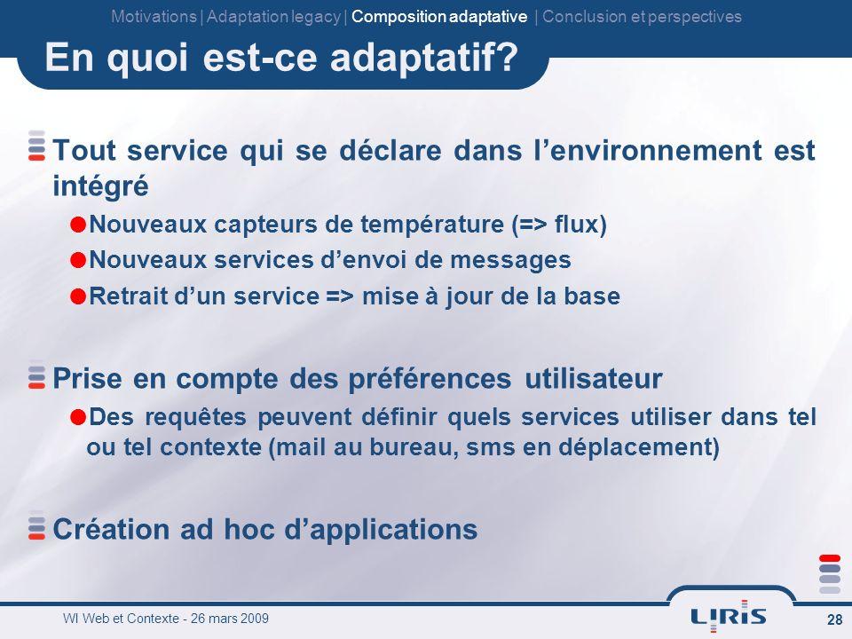 WI Web et Contexte - 26 mars 2009 28 En quoi est-ce adaptatif.