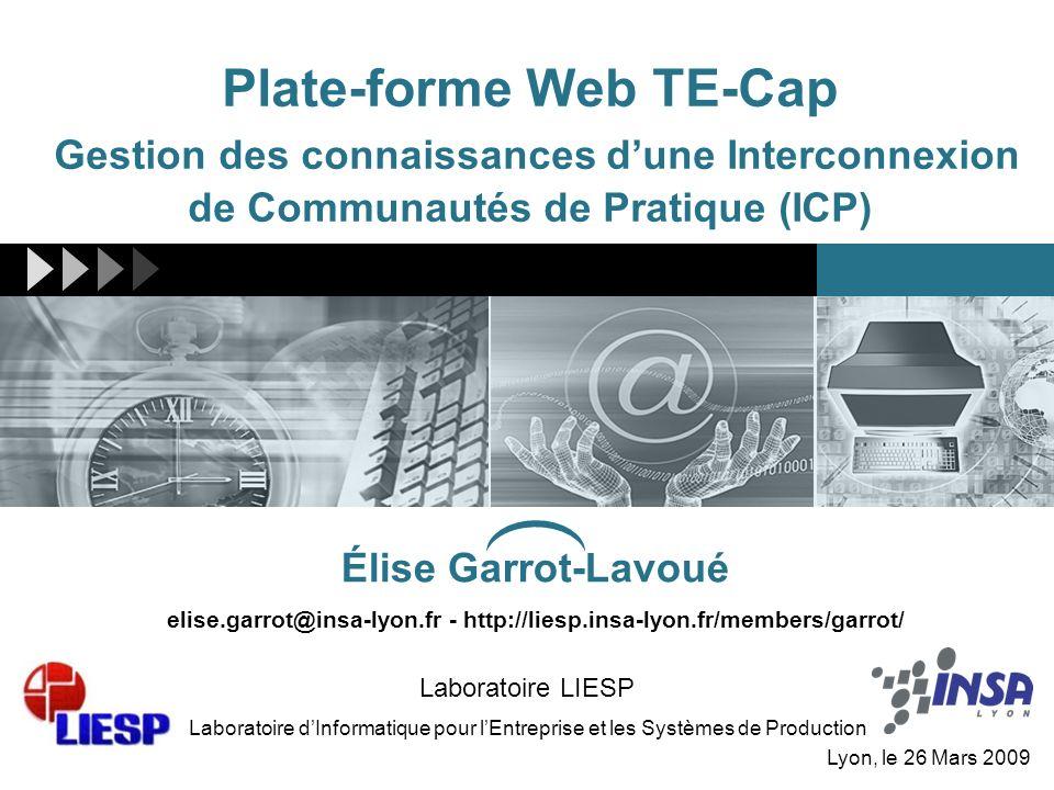 Plate-forme Web TE-Cap Gestion des connaissances dune Interconnexion de Communautés de Pratique (ICP) Laboratoire LIESP Laboratoire dInformatique pour