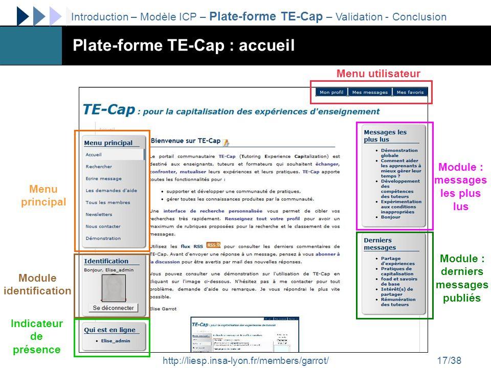http://liesp.insa-lyon.fr/members/garrot/17/38 Plate-forme TE-Cap : accueil Menu utilisateur Module identification Indicateur de présence Module : mes