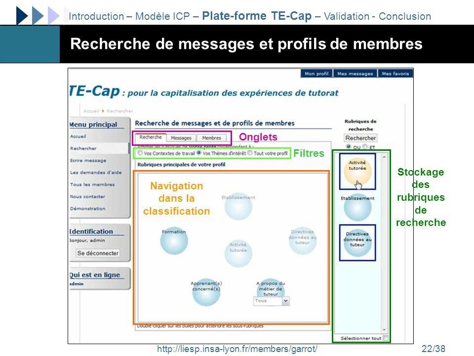 http://liesp.insa-lyon.fr/members/garrot/22/38 Recherche de messages et profils de membres Navigation dans la classification Stockage des rubriques de