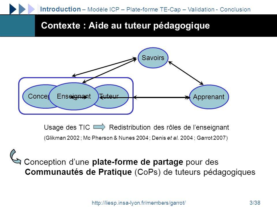 http://liesp.insa-lyon.fr/members/garrot/4/38 Communauté de Pratique (CoP) Regroupement informel Pratiques, centres dintérêt et buts communs Développement des compétences et de lexpertise Développement dune identité communautaire Résolution de problèmes par linnovation CoP en ligne Un répertoire partagé de ressources (Lave & Wenger 1991 ; Brown & Duguid 1991 ; Wenger 1998 ; Wenger & Snyder 2000 ; Pan & Leidner 2003 ; Koh & Kim 2004 ; Snyder et al.