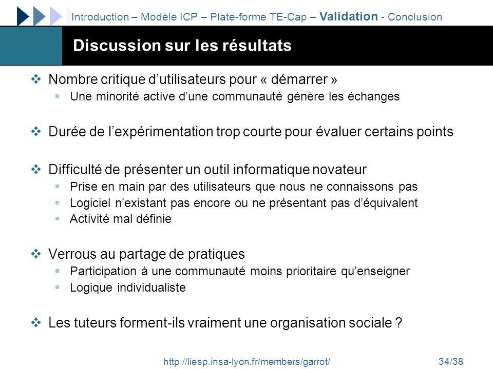 http://liesp.insa-lyon.fr/members/garrot/34/38 Discussion sur les résultats Nombre critique dutilisateurs pour « démarrer » Une minorité active dune c