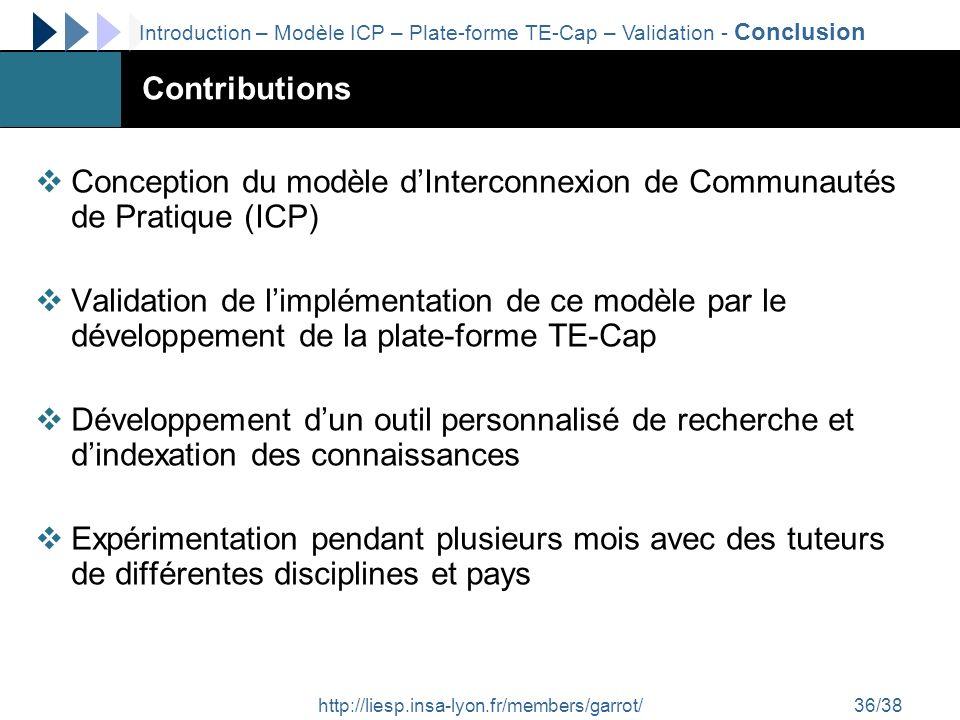 http://liesp.insa-lyon.fr/members/garrot/36/38 Contributions Conception du modèle dInterconnexion de Communautés de Pratique (ICP) Validation de limpl