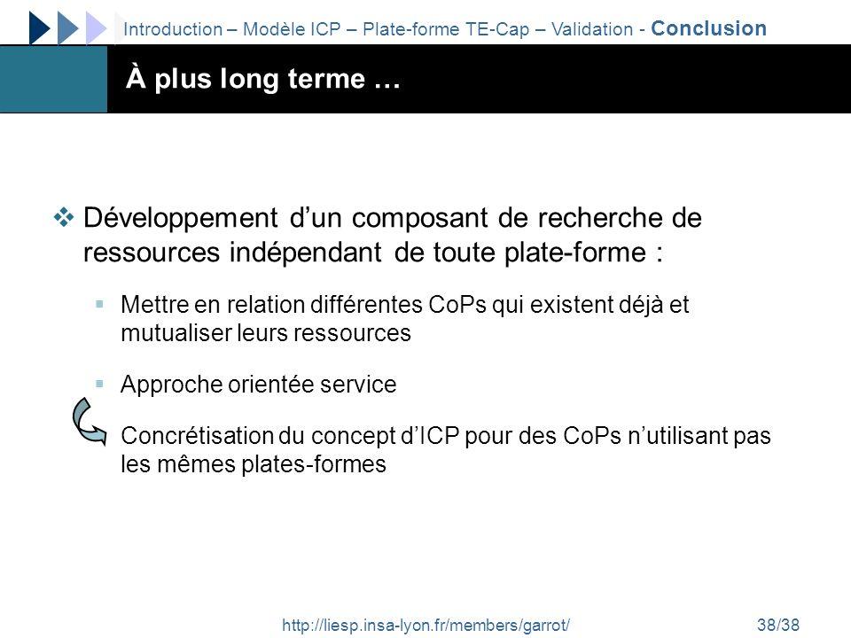 http://liesp.insa-lyon.fr/members/garrot/38/38 À plus long terme … Développement dun composant de recherche de ressources indépendant de toute plate-f