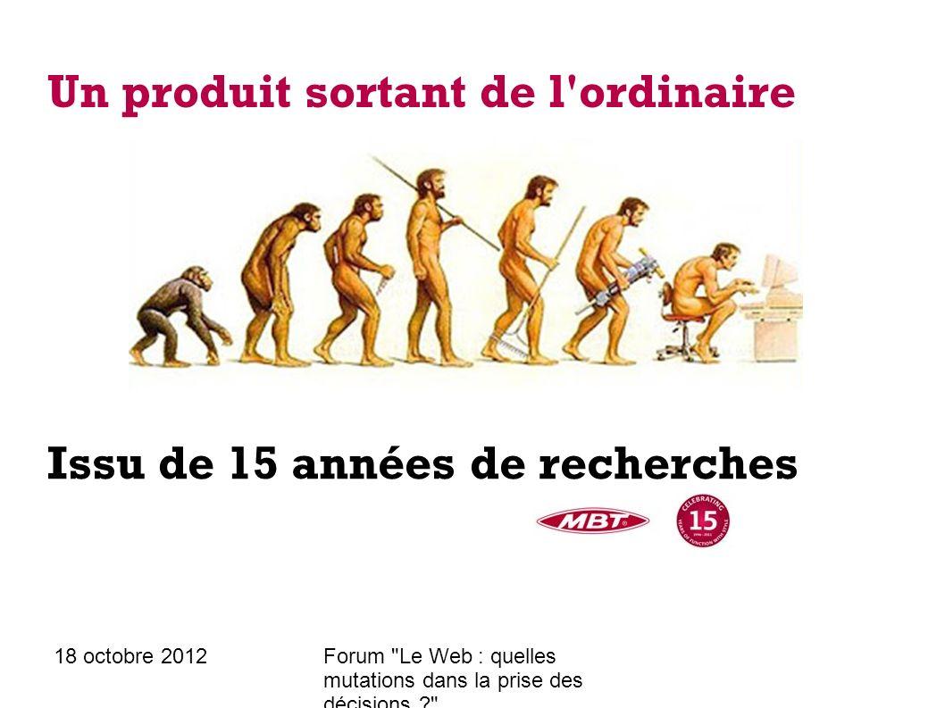18 octobre 2012Forum Le Web : quelles mutations dans la prise des décisions ? Un produit sortant de l ordinaire Mondialement breveté