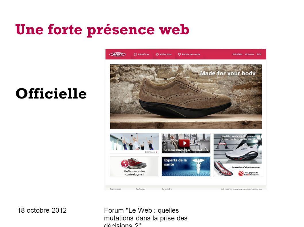 18 octobre 2012Forum Le Web : quelles mutations dans la prise des décisions ? Une forte présence web Sur les réseaux