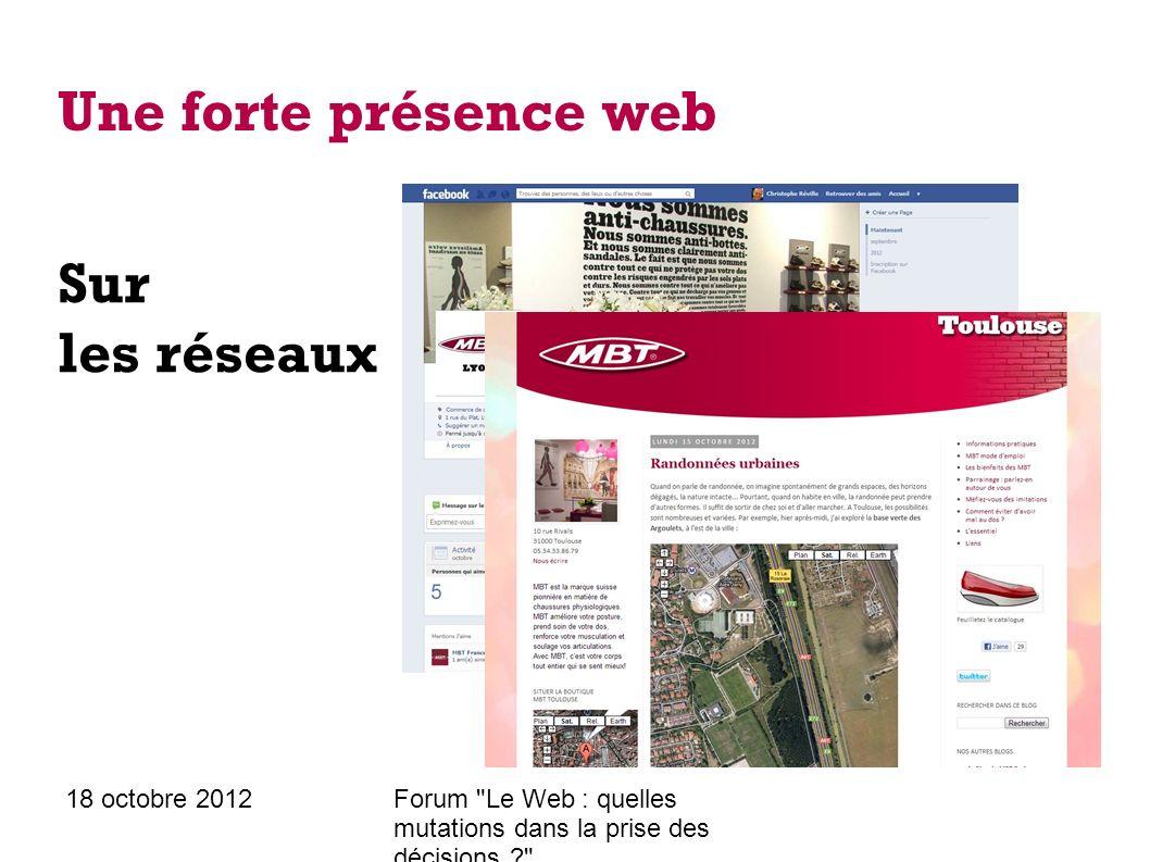 18 octobre 2012Forum Le Web : quelles mutations dans la prise des décisions ? Une forte présence web Mais aussi officieuse
