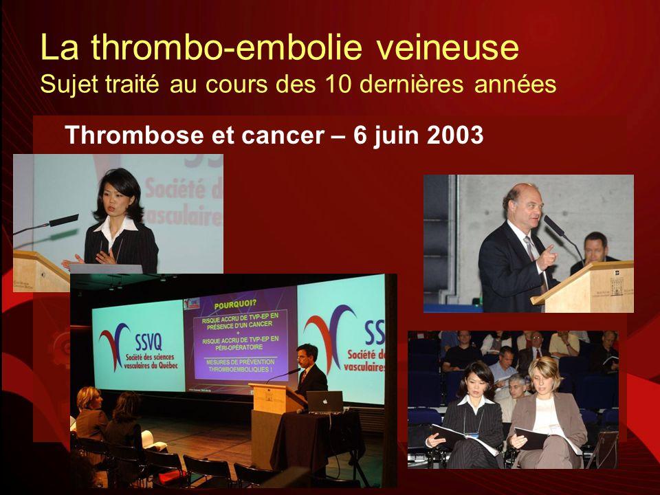 La thrombo-embolie veineuse Sujet traité au cours des 10 dernières années Thrombose et cancer – 6 juin 2003