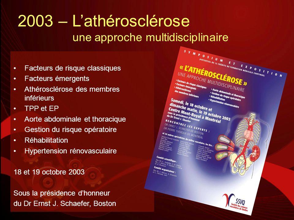 2003 – Lathérosclérose une approche multidisciplinaire Facteurs de risque classiques Facteurs émergents Athérosclérose des membres inférieurs TPP et E