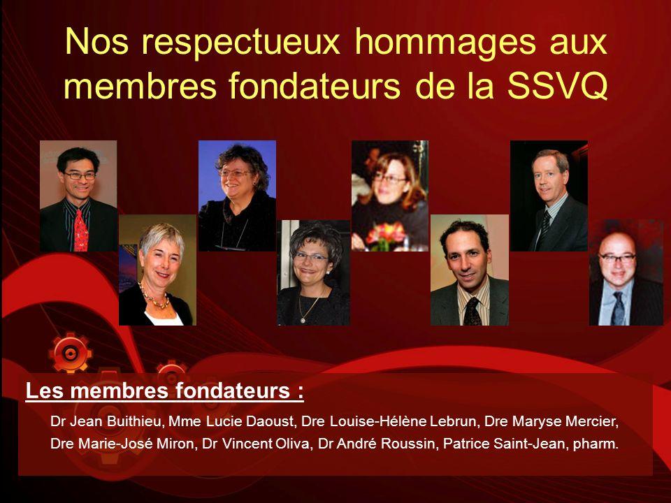 Nos respectueux hommages aux membres fondateurs de la SSVQ Les membres fondateurs : Dr Jean Buithieu, Mme Lucie Daoust, Dre Louise-Hélène Lebrun, Dre