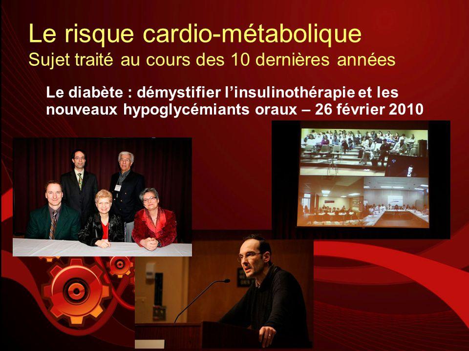 Le risque cardio-métabolique Sujet traité au cours des 10 dernières années Le diabète : démystifier linsulinothérapie et les nouveaux hypoglycémiants