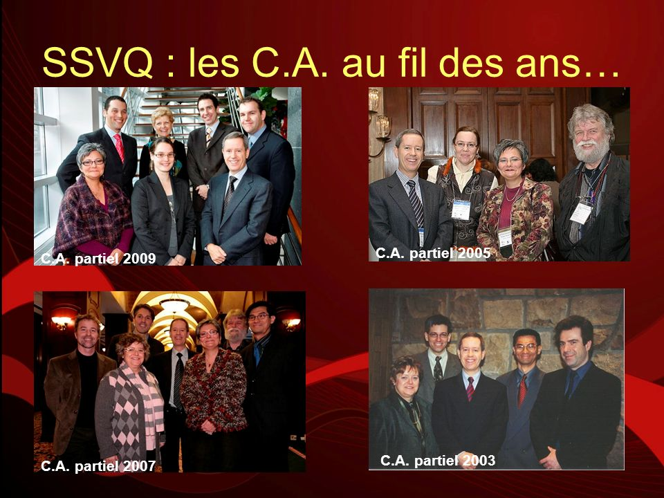 SSVQ : les C.A. au fil des ans… C.A. partiel 2003 C.A. partiel 2005 C.A. partiel 2007 C.A. partiel 2009