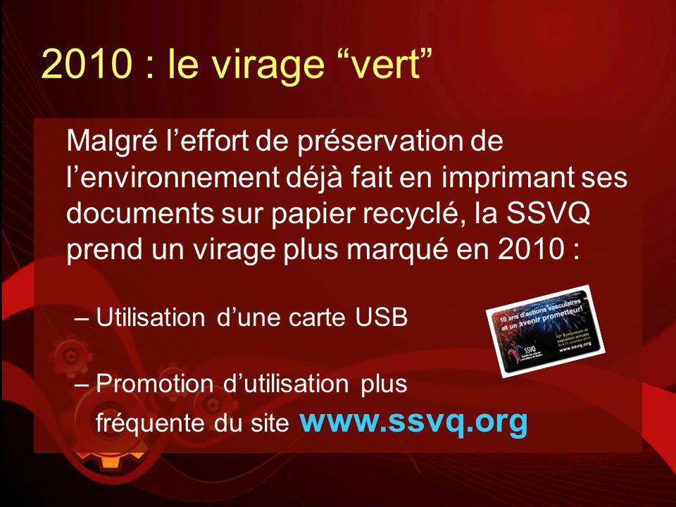 2010 : le virage vert Malgré leffort de préservation de lenvironnement déjà fait en imprimant ses documents sur papier recyclé, la SSVQ prend un virag
