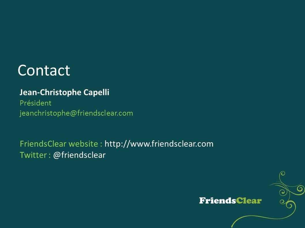 Contact Jean-Christophe Capelli Président jeanchristophe@friendsclear.com FriendsClear website : http://www.friendsclear.com Twitter : @friendsclear