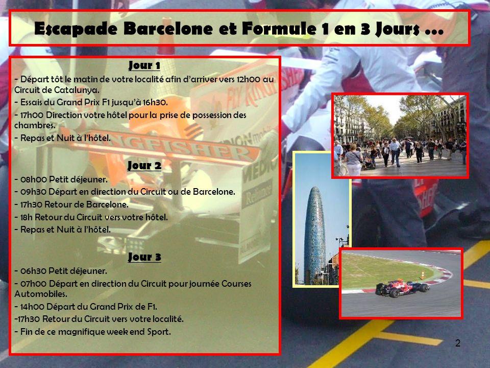 2 Jour 1 - Départ tôt le matin de votre localité afin darriver vers 12h00 au Circuit de Catalunya. - Essais du Grand Prix F1 jusquà 16h30. - 17h00 Dir
