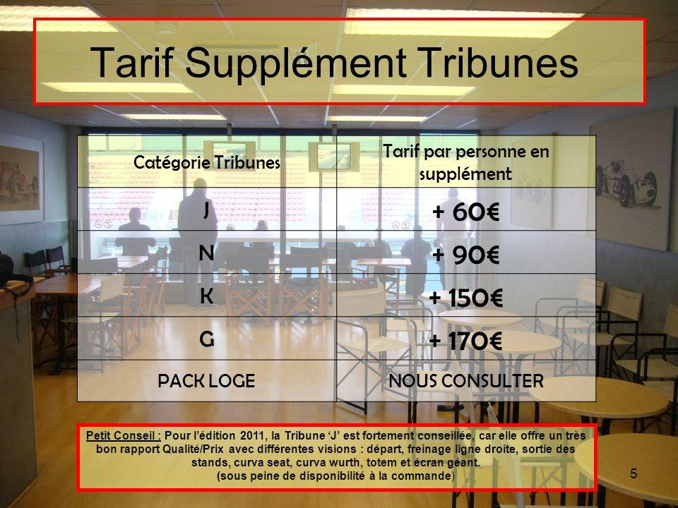 5 Tarif Supplément Tribunes Catégorie Tribunes Tarif par personne en supplément J + 60 N + 90 K + 150 G + 170 PACK LOGENOUS CONSULTER Petit Conseil :