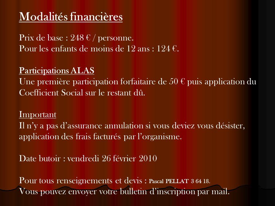 Modalités financières Prix de base : 248 / personne.