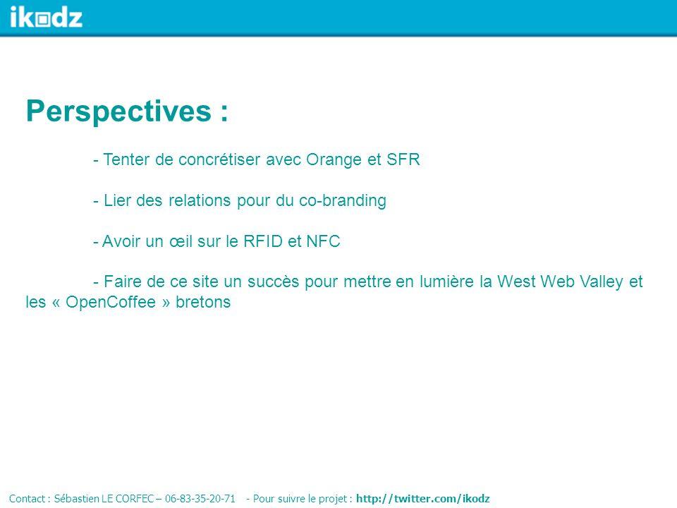 Perspectives : - Tenter de concrétiser avec Orange et SFR - Lier des relations pour du co-branding - Avoir un œil sur le RFID et NFC - Faire de ce sit