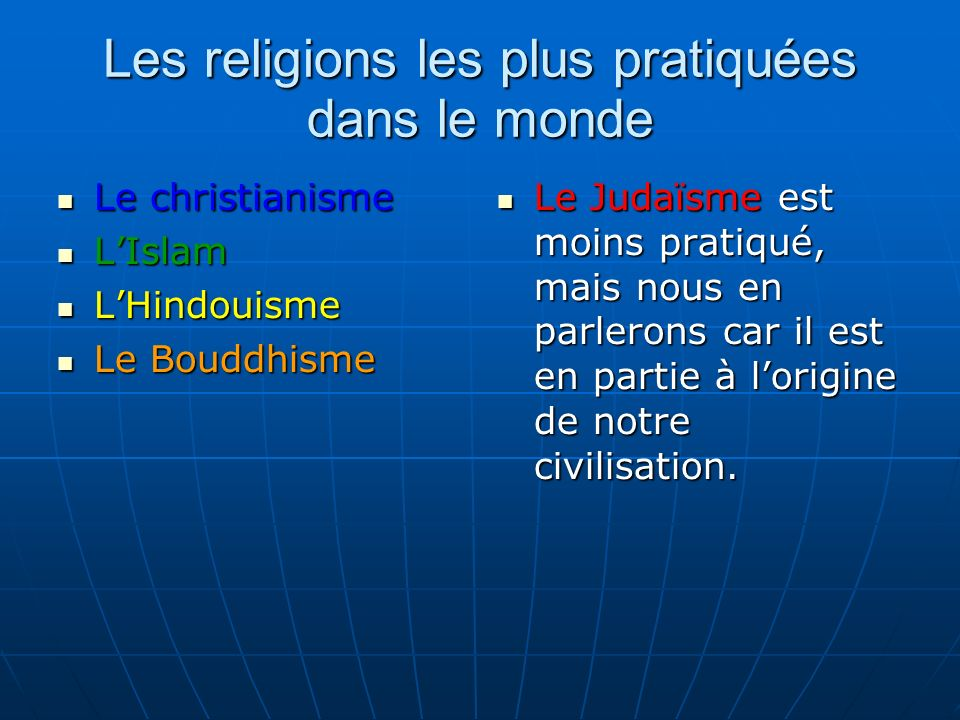 Les religions les plus pratiquées dans le monde Le christianisme Le christianisme LIslam LIslam LHindouisme LHindouisme Le Bouddhisme Le Bouddhisme Le Judaïsme est moins pratiqué, mais nous en parlerons car il est en partie à lorigine de notre civilisation.
