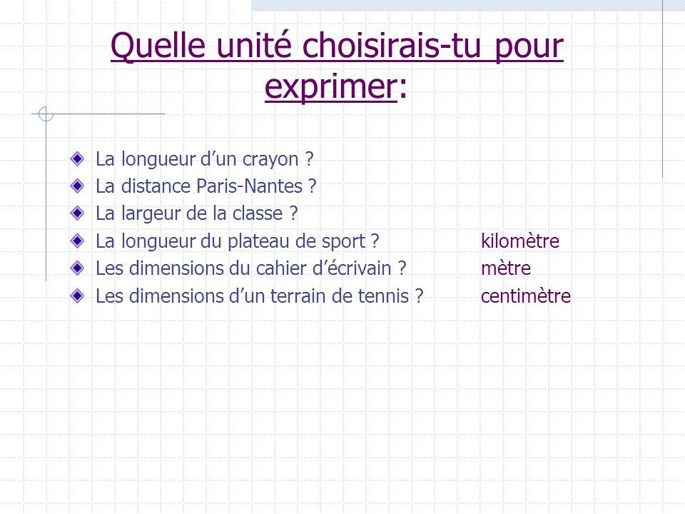 Quelle unité choisirais-tu pour exprimer: La longueur dun crayon ? La distance Paris-Nantes ? La largeur de la classe ? La longueur du plateau de spor