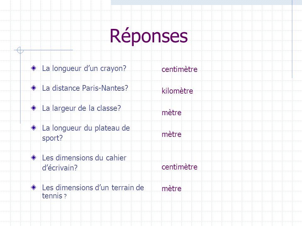 Réponses La longueur dun crayon? La distance Paris-Nantes? La largeur de la classe? La longueur du plateau de sport? Les dimensions du cahier décrivai