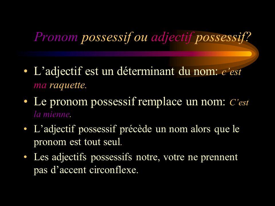 Pronom possessif ou adjectif possessif. Ladjectif est un déterminant du nom: cest ma raquette.