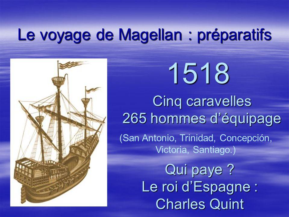Le voyage de Magellan : préparatifs 1518 Cinq caravelles 265 hommes déquipage Qui paye ? Le roi dEspagne : Charles Quint (San Antonio, Trinidad, Conce