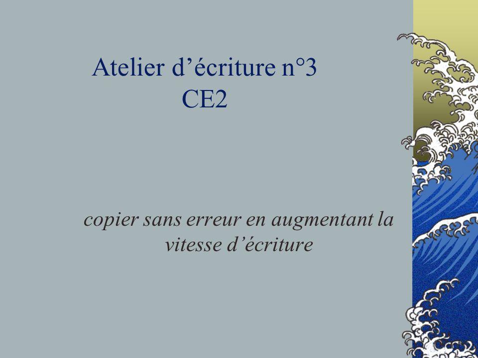 Atelier décriture n°3 CE2 copier sans erreur en augmentant la vitesse décriture