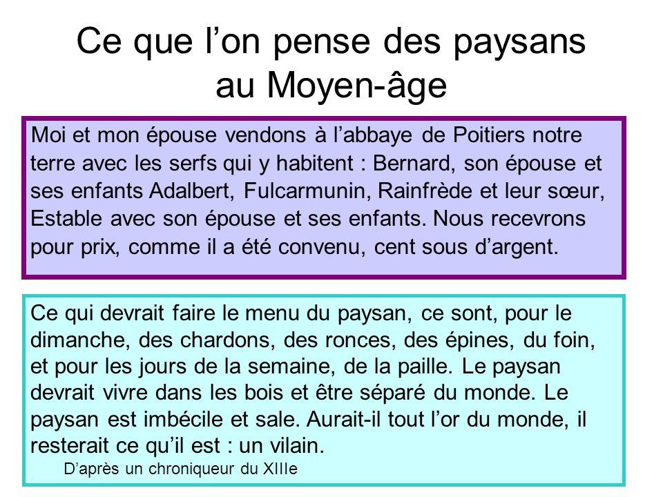 Ce que lon pense des paysans au Moyen-âge Moi et mon épouse vendons à labbaye de Poitiers notre terre avec les serfs qui y habitent : Bernard, son épo