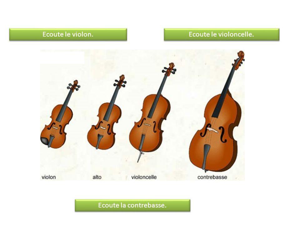 Ecoute le violoncelle. Ecoute la contrebasse. Ecoute le violon.