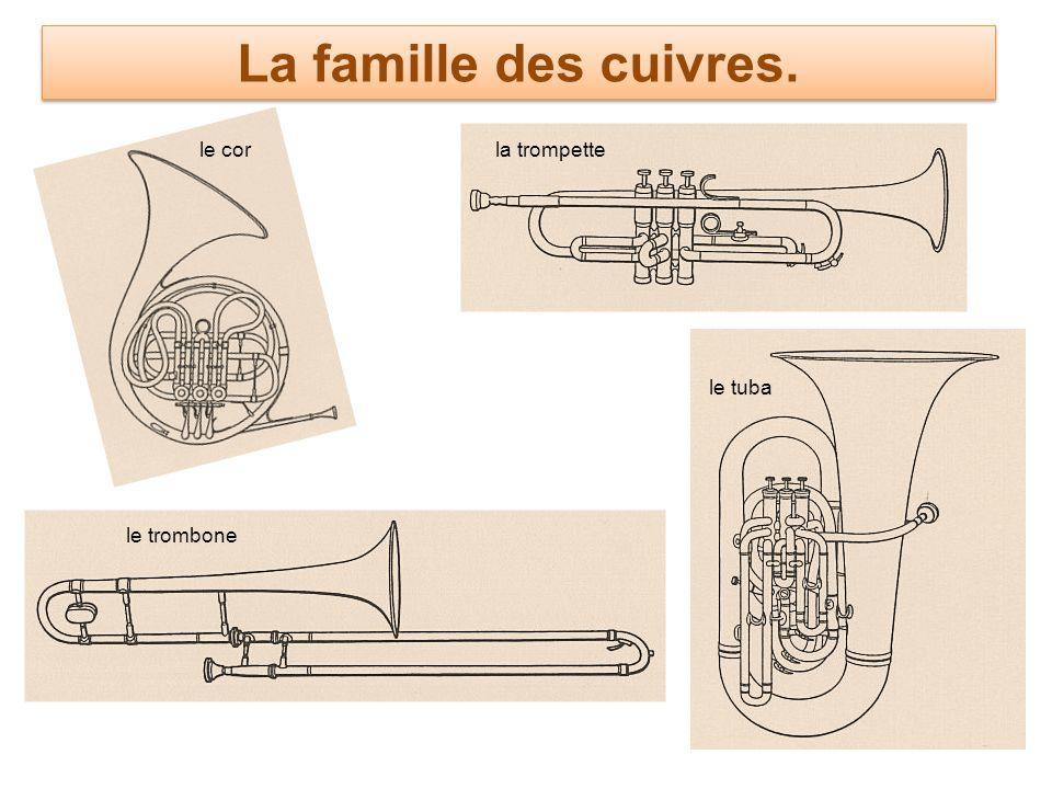 La famille des cuivres. le corla trompette le tuba le trombone