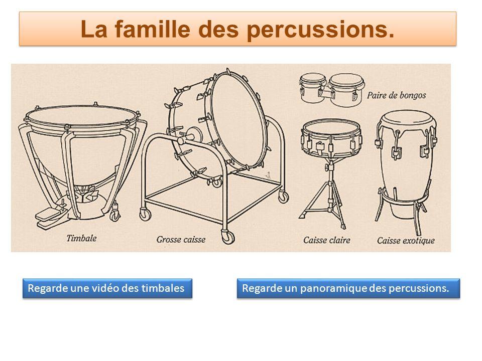 La famille des percussions. Regarde une vidéo des timbales Regarde un panoramique des percussions.