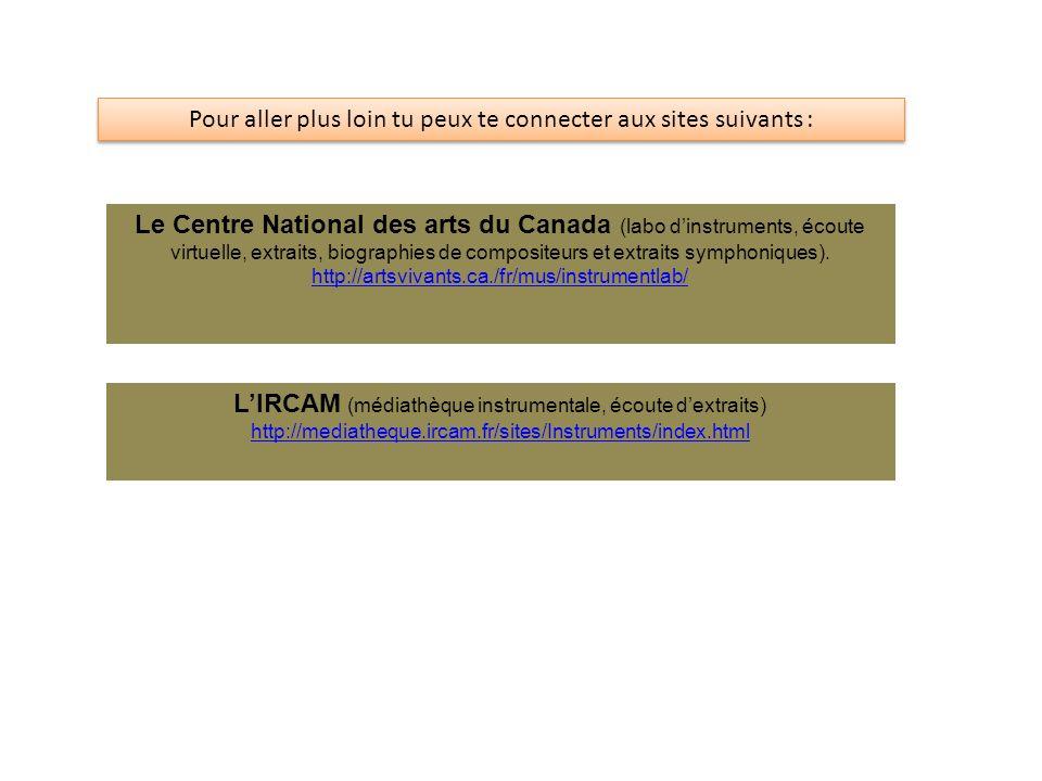 Pour aller plus loin tu peux te connecter aux sites suivants : Le Centre National des arts du Canada (labo dinstruments, écoute virtuelle, extraits, b