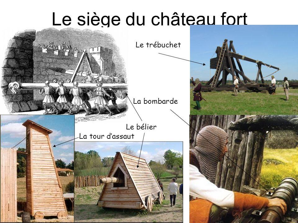Le siège du château fort Le trébuchet La bombarde Le bélier La tour dassaut