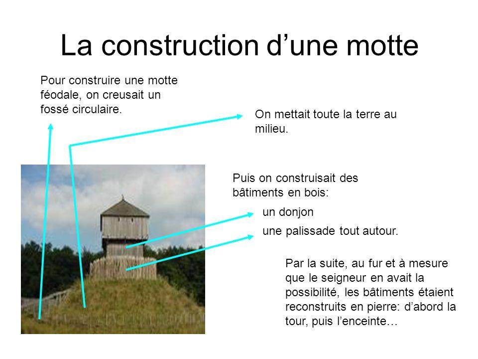 La construction dune motte On mettait toute la terre au milieu. Pour construire une motte féodale, on creusait un fossé circulaire. Puis on construisa