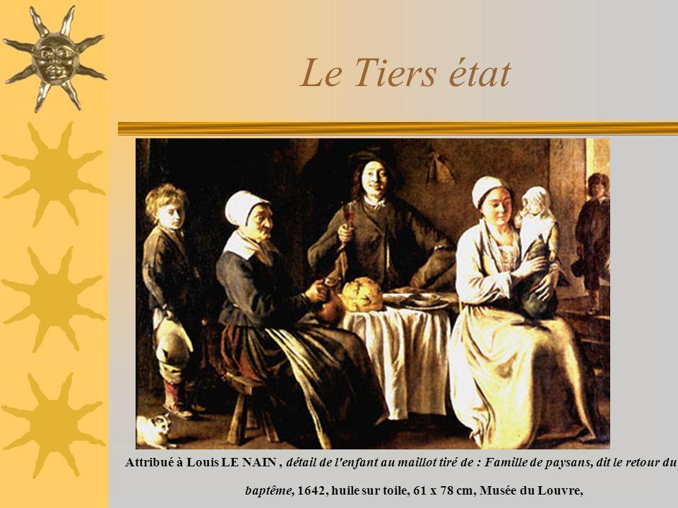 Le Tiers état Attribué à Louis LE NAIN, détail de l enfant au maillot tiré de : Famille de paysans, dit le retour du baptême, 1642, huile sur toile, 61 x 78 cm, Musée du Louvre,
