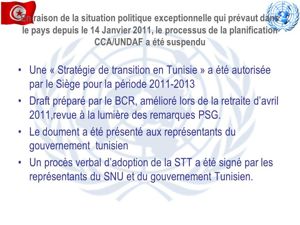 le procès verbal dadoption de la STT signé permet de Consigner les actions des agences des nations unies en Tunisie durant la période transition 2011-2013 ; aux agences des nations unies qui référent à leurs sièges respectifs (PNUD,UNFPA,UNICEF) de sécuriser les fonds nécessaires de leurs actions prioritaires pour la Tunisie, durant la période 2011-2013.