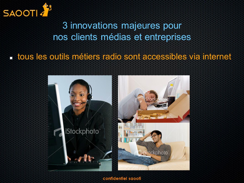 confidentiel saooti 3 innovations majeures pour nos clients médias et entreprises tous les outils métiers radio sont accessibles via internet